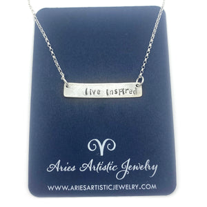 live inspired Word bar necklace sterling silver jewelry by NJ artist