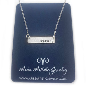 Strong Word bar necklace sterling silver jewelry by NJ artist