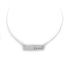 Loved Word bar necklace sterling silver jewelry by NJ artist