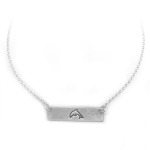 Dolphin Symbol Bar Necklace