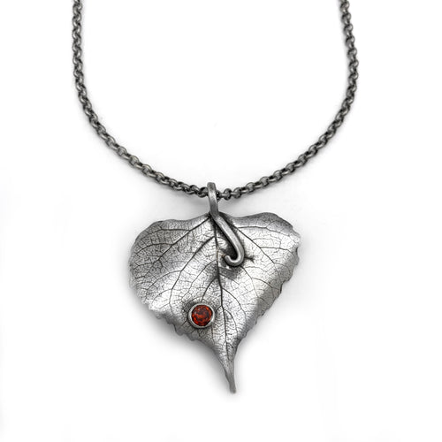 Fine Silver Rounded Colorado Leaf Necklace
