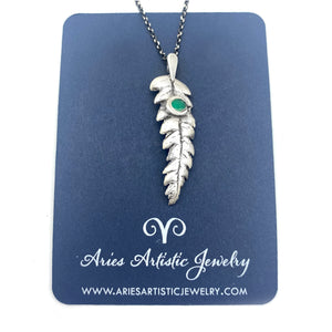 Fine Silver Fern Leaf Necklace with Emerald Accent