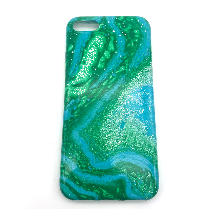 Hydro Dipped Phone Cases in Green Blue and White- iPhone 7, iPhone 8, iPhone SE (2020)