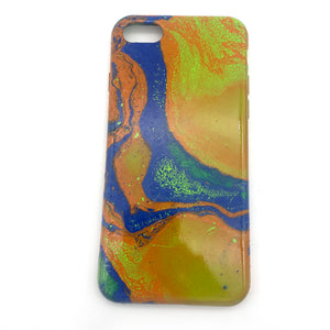 Hydro Dipped Phone Cases in Orange Lime and Blue - iPhone 7, iPhone 8, iPhone SE (2020)