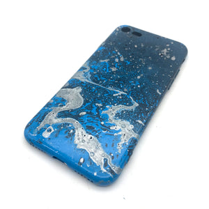 Hydro Dipped Phone Cases in Blue Silver Black and White - iPhone 7, iPhone 8, iPhone SE (2020)