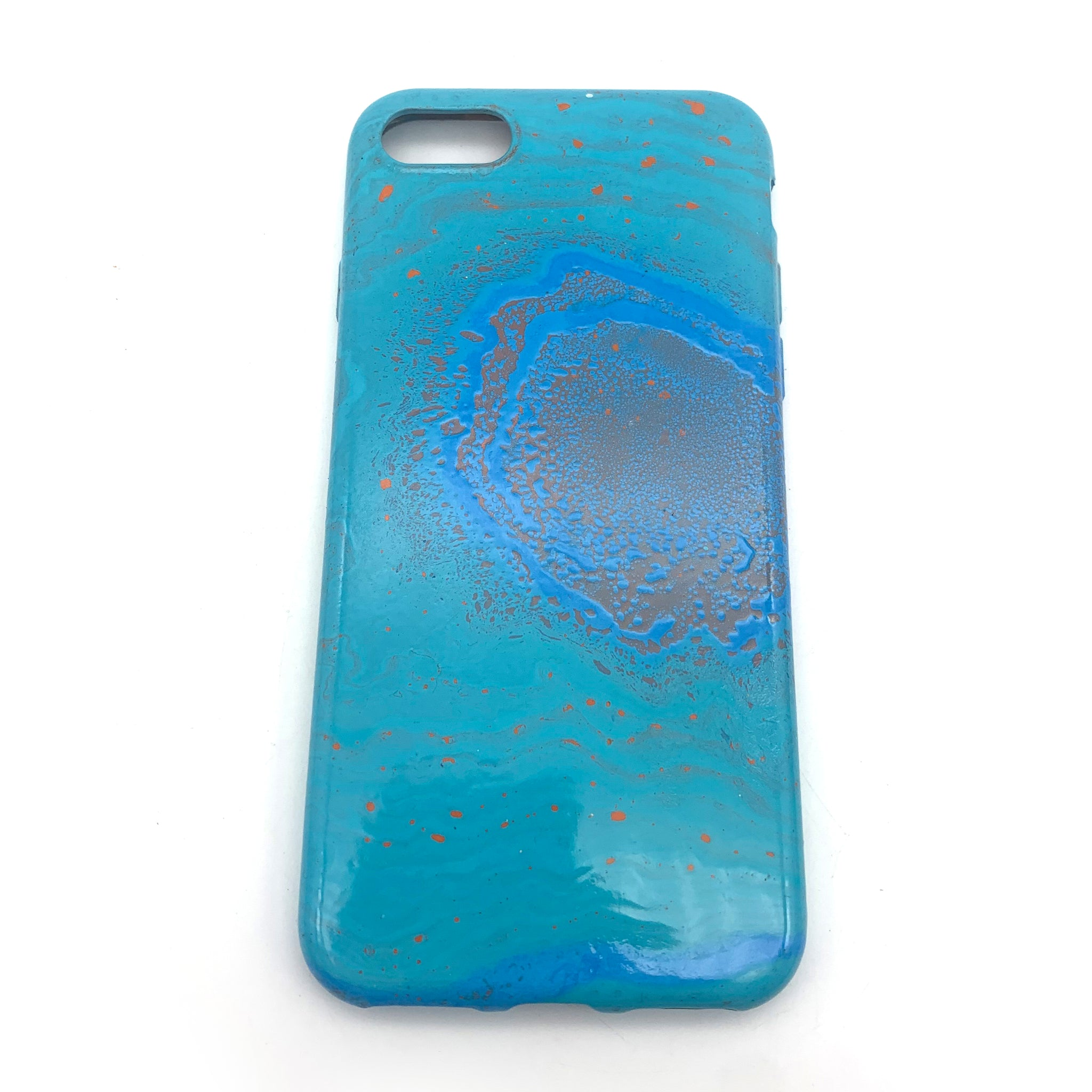 Hydro Dipped Phone Cases in Blue Aqua and Orange- iPhone 7, iPhone 8, iPhone SE (2020)