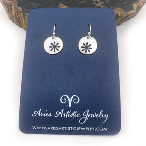 Sterling Silver Round Snowflake Earrings with Abstract Design