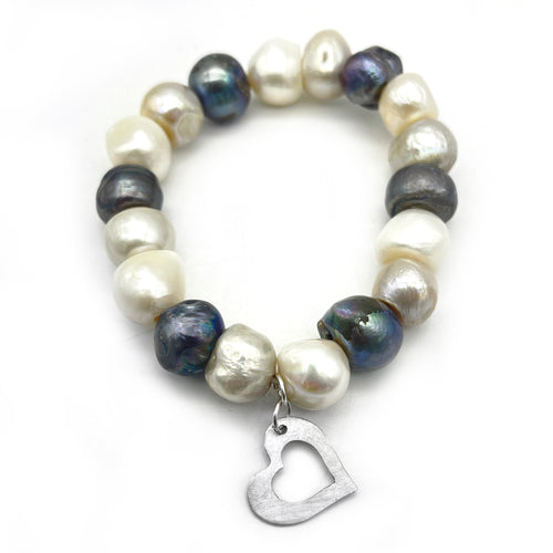 Large Pearl Bracelet with Heart Charm