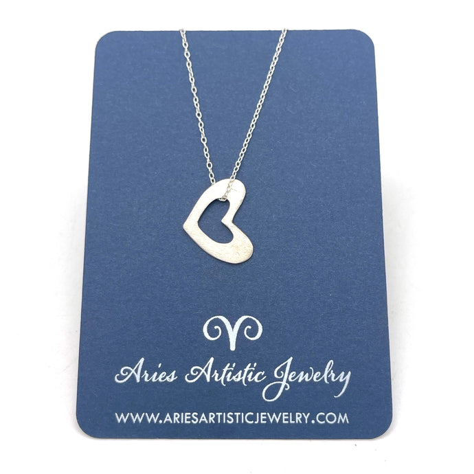 Small Open Sterling Silver Heart Necklace
