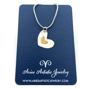 Sterling Silver Heart Necklace with Gold Accent Heart