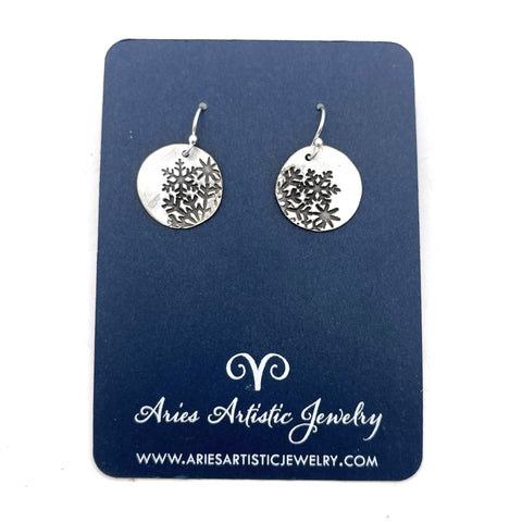 Sterling Silver Small Round Snowflake Earrings with Abstract Design