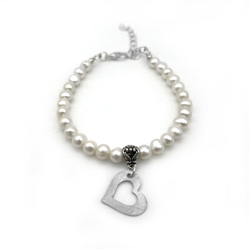 Small Pearl Bracelet with Heart Charm