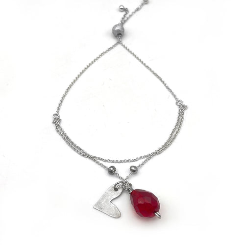 Sterling Silver Adjustable Bracelet with Whimsical Heart and Red Crystal Charm