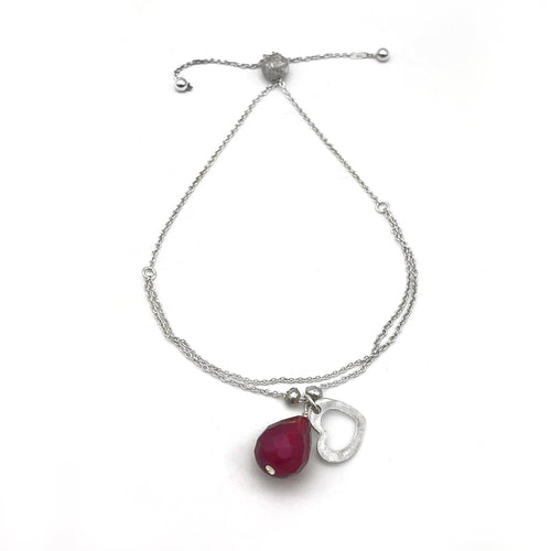 Sterling Silver Adjustable Bracelet with Open Heart and Red Crystal Charm