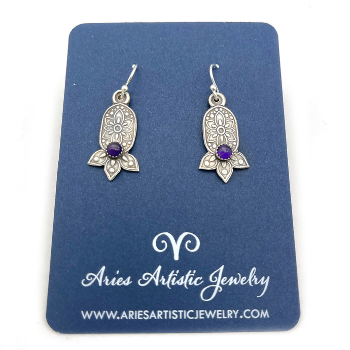Petal Flower Earrings with Amethyst Gemstones