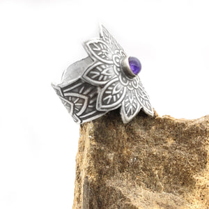 Sterling Silver Flower Ring with Amethyst Accent