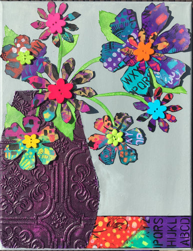 Mixed Media Art Canvas Class - Fabulous Florals (May 16th 10-1PM)