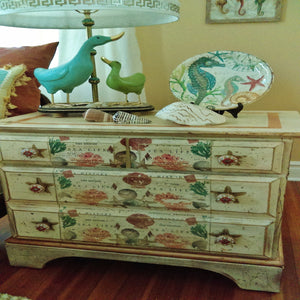 3-Drawer Coral Seas Nautical Theme Chest