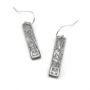 Long Bar CZ Diamond Earrings - Red Bank Artisan Collective jewelry art vintage recycled Earrings, Aries Artistic Jewelry