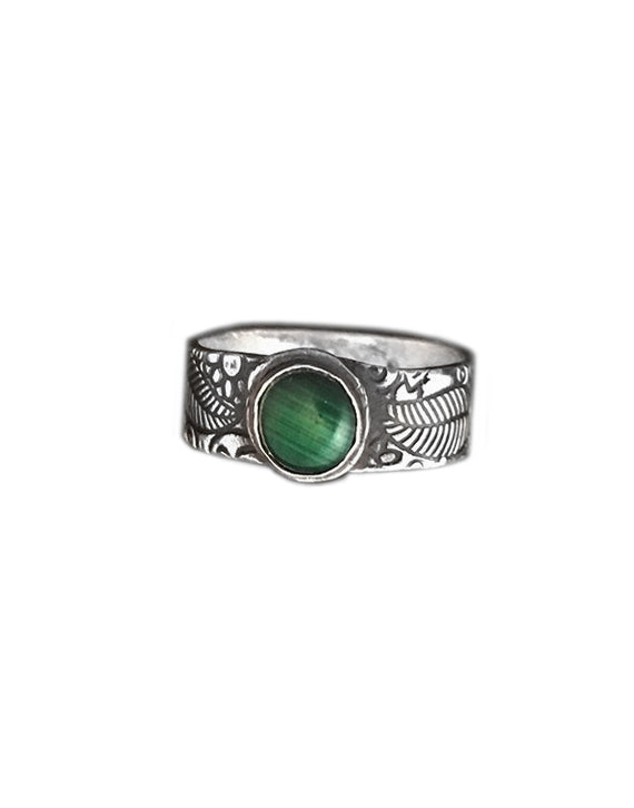 Malachite Silver RIng - Red Bank Artisan Collective jewelry art vintage recycled Ring, Aries Artistic Jewelry