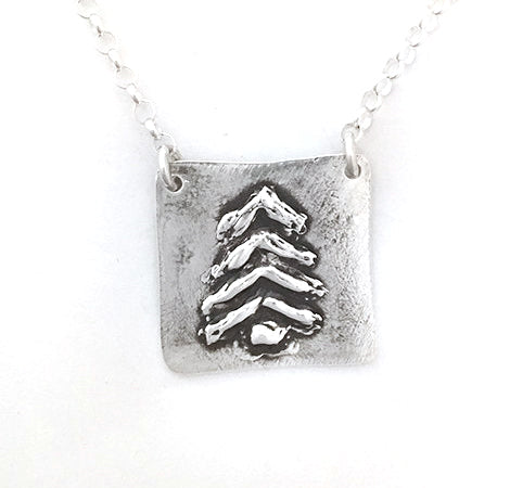 Square Drawn Tree Necklace - Red Bank Artisan Collective jewelry art vintage recycled Necklace, Aries Artistic Jewelry