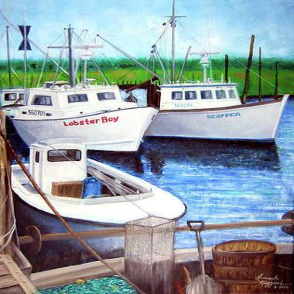 Belford NJ working boats oil paintings by Leonardo Ruggieri
