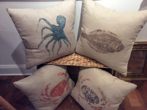 Gyotaku Printed Pillows