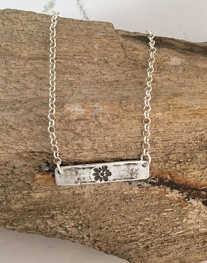 Sterling Silver Flower Bar Necklace