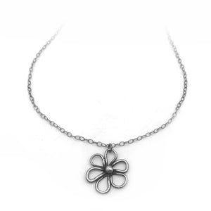 Tiny Round Flower Necklace Nature Jewelry