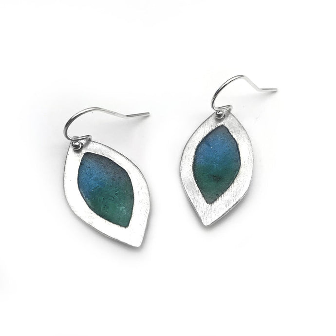 Sterling Silver Leaf Earrings Blue/Green