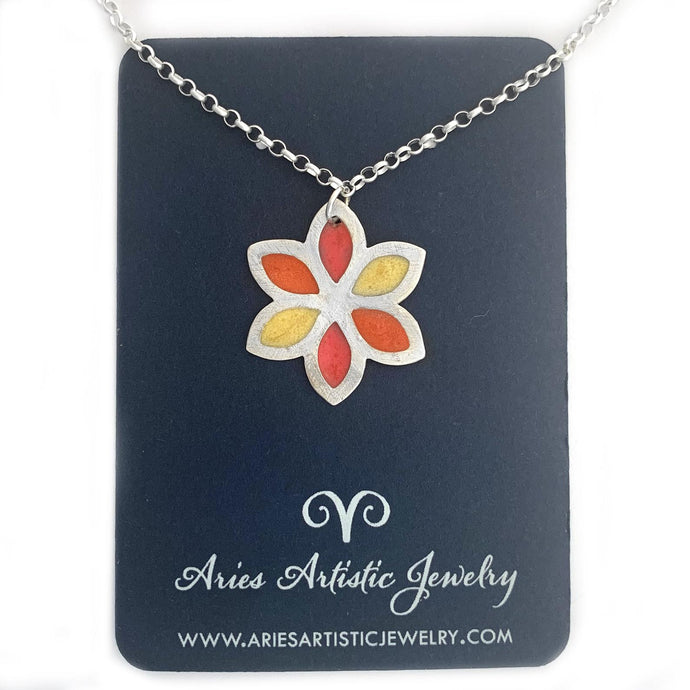 Handmade Colorful Sterling Silver Flower Necklace