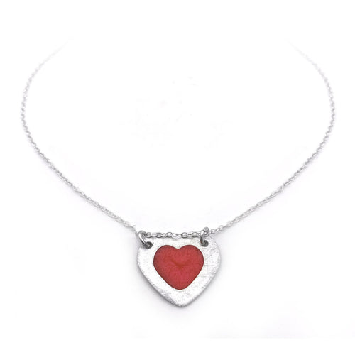 Sterling Silver Red Heart Necklace Minimalist Jewelry