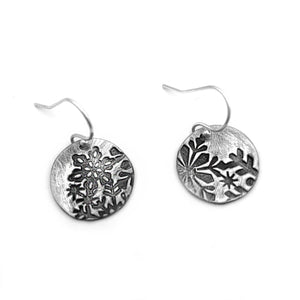 Small Round Snowflake Earrings with Abstract Design