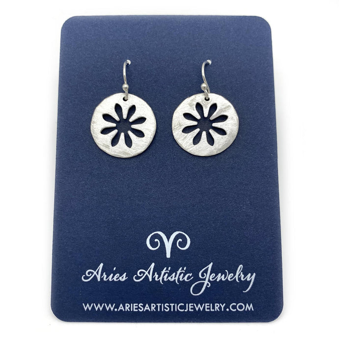 Round Snowflake Earrings with Abstract Design