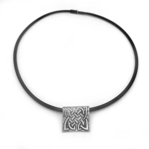 Square Celtic Knot Necklace on Rubber Cord Irish Jewelry