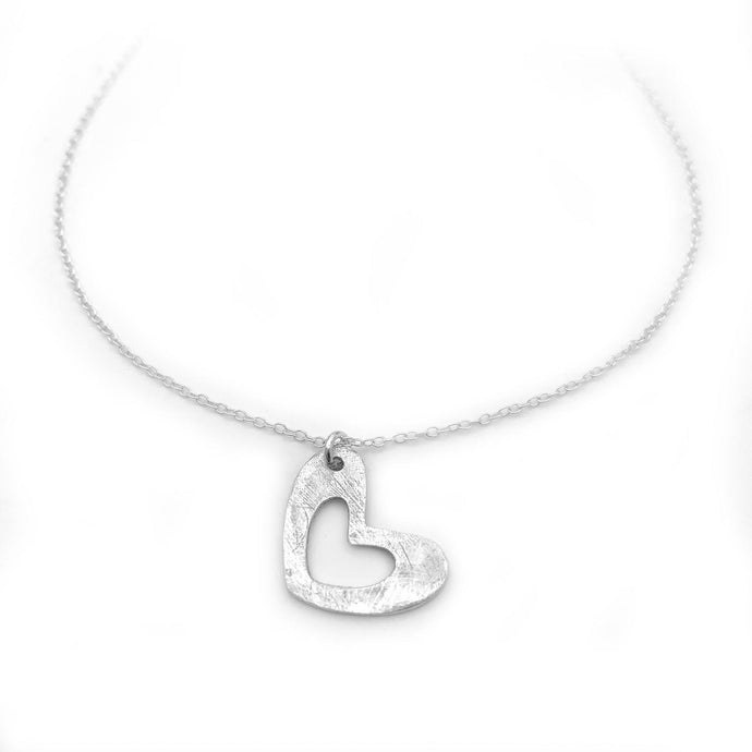 Sterling Silver Heart Necklace Minimalist Jewelry