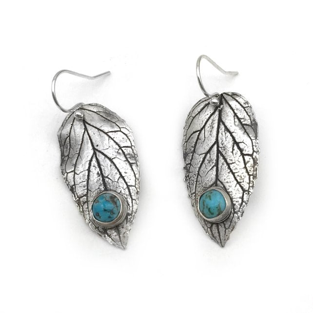 Silver Mint Leaf Earrings with Turquoise Cabochons - Red Bank Artisan Collective jewelry art vintage recycled Earrings, Aries Artistic Jewelry