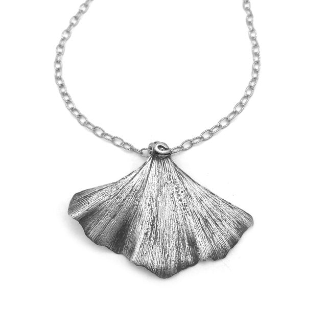 Nature Inspired Silver Ginkgo Necklace - Red Bank Artisan Collective jewelry art vintage recycled Necklace, Aries Artistic Jewelry