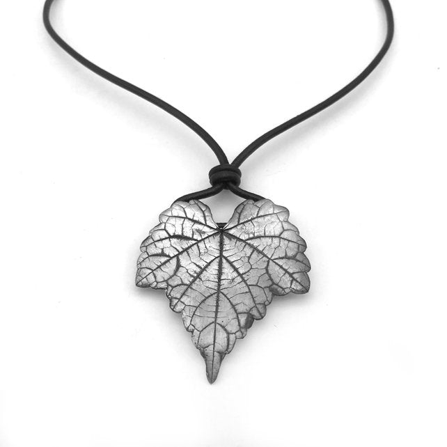 Large Silver Leaf Necklace - Red Bank Artisan Collective jewelry art vintage recycled Necklace, Aries Artistic Jewelry