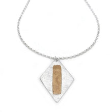 Sterling Silver Diamond Shaped Pendant with Copper Accents