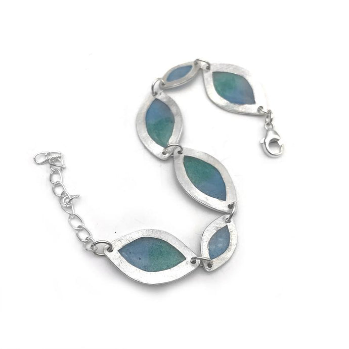 Blue Sterling Silver Multi-Leaf Bracelet
