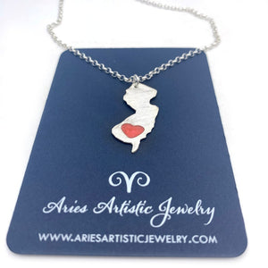 Sterling Silver NJ Heart Necklace