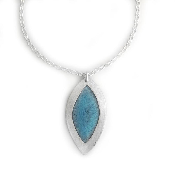 Stained Glass Sterling Silver Leaf Necklace
