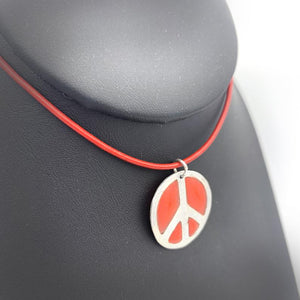 Sterling Silver Peace Sign Necklace Red Peace & Love Jewelry
