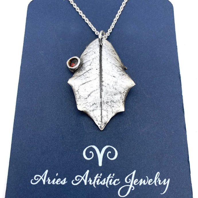 Fine Silver Holly Leaf Necklace Winter Jewelry Nature Lover