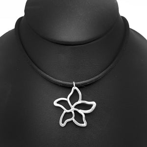 Pointed Flower Necklace on Rubber Cord Nature Jewelry