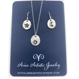 Sterling Silver Moon & Star Earrings, Moon Earrings Celestial Jewelry