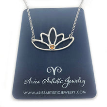 Fine Silver Lotus Necklace Spiritual Jewelry with Gemstone Accent