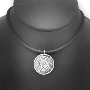 Round Mandala Necklace on Rubber Cord Spiritual Jewelry