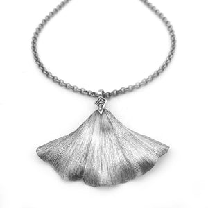 Silver Ginkgo Leaf Necklace Nature Jewelry